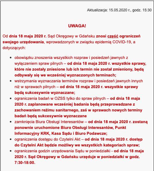 Sąd Okręgowy w Gdańsku- zniesienie ograniczeń urzędowania od 18.05.2020 r.